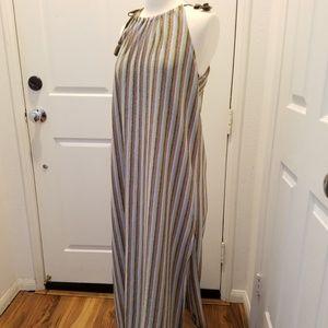 Metallic striped maxi dress